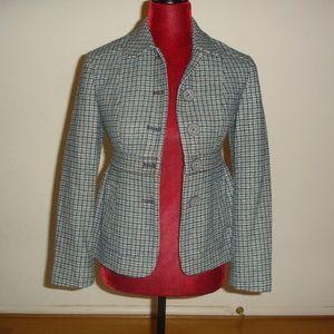 BANANA REPUBLIC Sz 2P Blue/Gray Tweed Knit Blazer